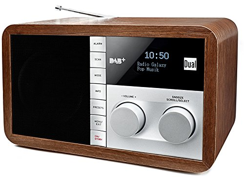 Dual DAB 32 Digitalradio mit OLED-Display (UKW/DAB+ Tuner, Senderspeicherfunktion, Wecker, AUX-In, Kopfhöreranschluss, Holzoptik) braun