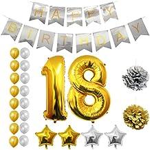 Globos Cumpleaños Happy Birthday #18, Suministros y Decoración por Belle Vous - Globo Grande de Aluminio 18 Años - Decoración Globos De Látex Dorado y Plateado - Apto para Todos los Adolescentes