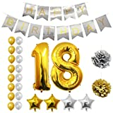 Ballons Happy Birthday 18ème Anniversaire, Fournitures & Décorations par Belle Vous - Set tout-en-un - Gros Ballon Aluminium 18 Ans - Ballon de Décoration en Latex Or et Argent - Décor Adapté pour les Jeunes Adultes