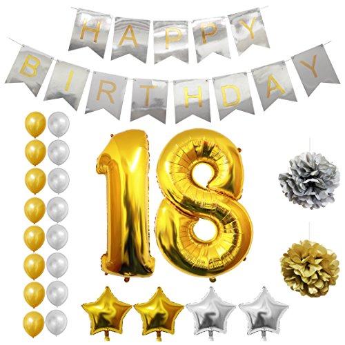 Luftballons u. Dekoration zum 18. Geburtstag von Belle Vous - 24-tlg. Set - Großer 18 Jahre Folienballon - 30,5cm Gold u. Silberne Dekorative Latex-Ballons - Dekor für Erwachsene (Frozen Geburtstag Dekor)