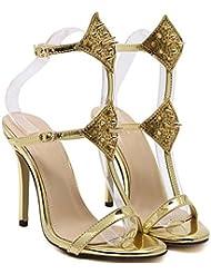 NobS Moda Señoras Mujeres Tacones Altos Rivet Sandalias Sandalias Huecos Sandalias Zapatos Zapatos Zapatos Casual , gold , 36