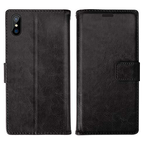 iPhone XS Max Hülle Lederhülle Handyhülle Schutzhülle Ultradünn Etui PU Tasche Leder Flip Case Cover [Standfunktion] mit Kartenfach für iPhone XS Max - Schwarz99