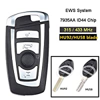 Beefunny EWS ID44 PCF7935 Chip 4B Modified Flip Remote Key for BMW Key 330 318 525 530 540 E38 E39 E46 M5 X3 X5 (433MHz, HU92 blade)