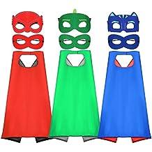 Tacobear PJ Masks Disfraz para niño 6 Piezas PJ Mascaras 3 Piezas Capas Superhéroes Disfraz Cosplay