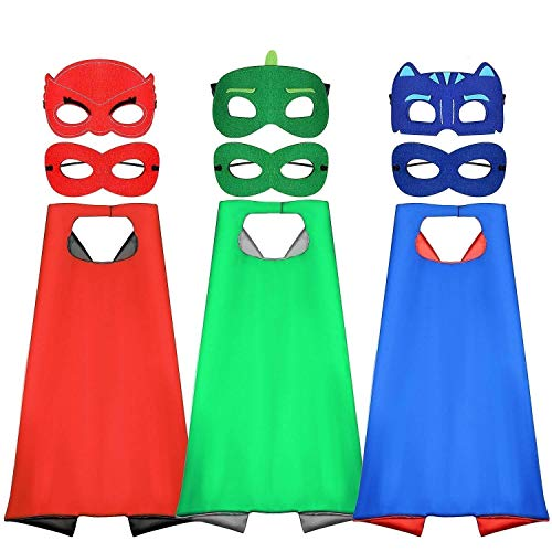 Tacobear PJ Masks Disfraz para niño 6 Piezas PJ Mascaras 3 Piezas Capas Superhéroes Disfraz Cosplay Fiesta cumpleaños