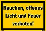 Kleberio® Verbots Schild 30 x 20 cm - Rauchen, offenes Licht und Feuer verboten! - stabile Aluminiumverbundplatte
