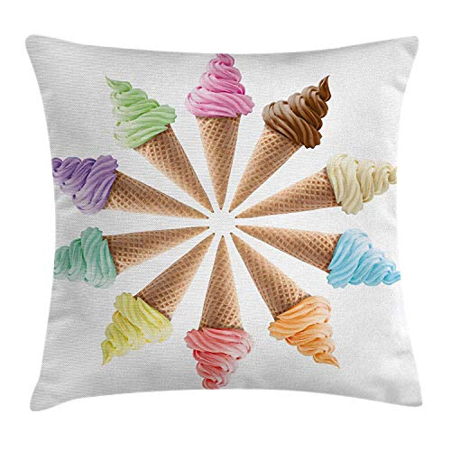 ZMYGH Ice Cream Decor Throw Pillow Cushion Cover by, Cones with Various Flavors Forming a Stylish Row Summer Season Picture, Decorative Square Accent Pillow Case, 18 x 18 Inches, Multicolor