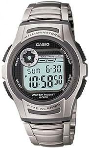 Casio - W-213D-1AVES - Montre Homme - Quartz Digitale - Cadran Gris - Bracelet Acier Argent