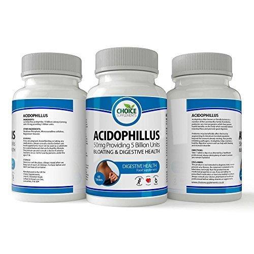 Acidophilus 60 Tabletten (Auswahl Nahrungsergänzungsmittel Acidophilus Probiotika Lactobacillus - Verdauung Gesundheit Tabletten - 5 Milliarde CFU - 60 Tabletten - Flasche)