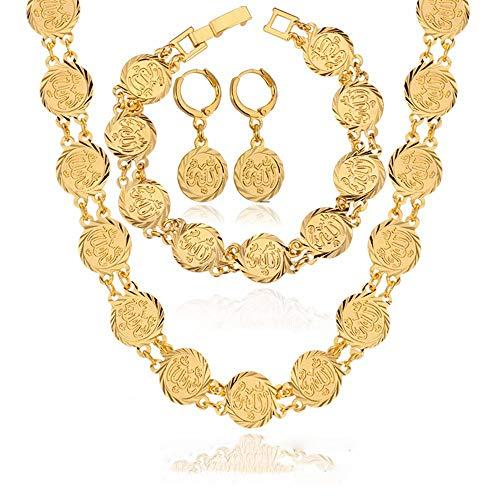 WANZIJING 3 Stücke Türkei Münze Schmuck Sets, Afrikanische Hochzeit Halskette Set Muslim Islam Glück Schmuck für Braut Hochzeitsgeschenke,Gold
