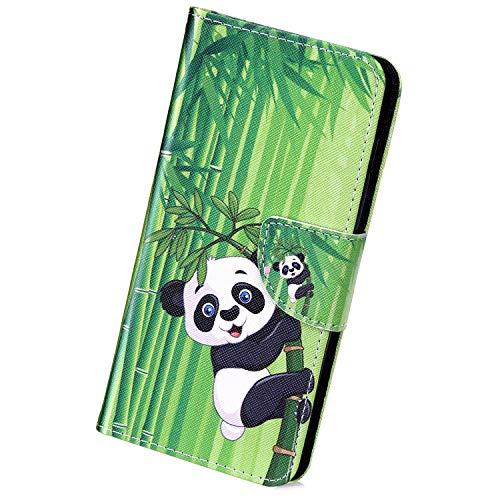 Herbests Kompatibel mit Samsung Galaxy S10 5G Handy Hülle Lederhülle Bunt Muster Handytasche Muster Flip Case Cover Leder Tasche Klapphülle Handschlaufe Kartenfächer Magnet,Schwarz Panda