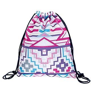 Loomiloo Aztek White Pink Drawstring Bag Gym Sac Sack Gymbag Rucksack Gym Wear School Stringbag