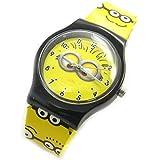 Armbanduhr analog 'Minions'schwarz gelb.