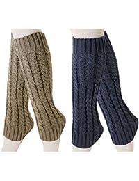 Chalier Pack de 2 calcetines largos de punto de ganchillo para mujer