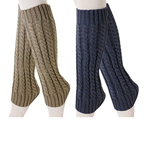 Guêtre Femme Jambières d'Hiver Chaudes Tricotés en Coton, Longues Chaussettes Crochet Knit Boot Cover pour Femme et Fille, Style Simple Vintag