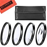 #10: 55mm Close-Up Filter Set (+1 +2 +4 and +10 Diopters) Magnificatoin Kit - Metal Rim for Nikon DL24-500 f/2.8-5.6 Digital Camera + MicroFiber Cleaning Cloth