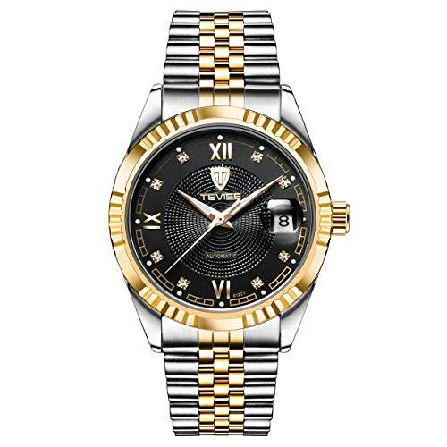 Montre Homme Automatique Mécanique Luxe Casual Classique Affaires avec Bande en Acier Inoxydable Etanche Bracelet