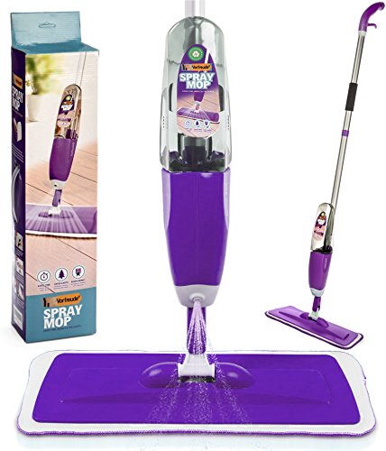 Vorfreude Floor Mop with Integrated Spray and Lifetime Guarantee – Included Refillable 700 Milliliter Capacity Bottle and Reusable Microfibre Pad