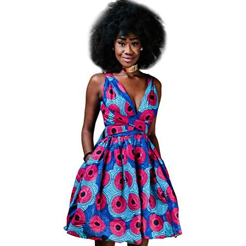 OBEEII Femme Africaine Robe Bohème Élégant 4D Imprimer Multi-Way Bandage Dress Bandage Dashiki Costume Ethnique Traditionnel pour Soirée Cocktail Demoiselle d'honneur Prom Fête L