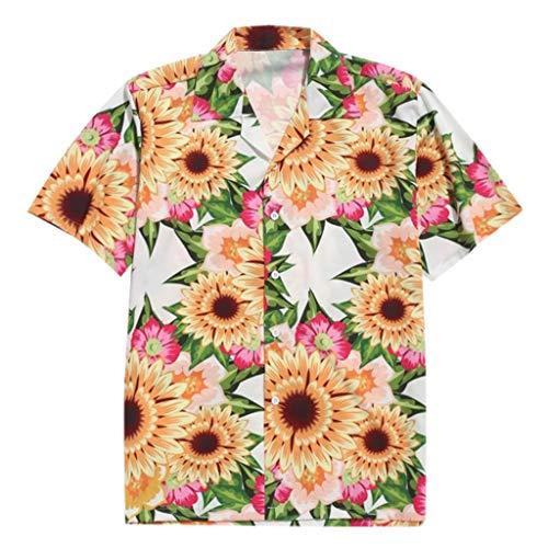 Hawaiihemd | Herren | Kurzarm | Front-Taste | Hawaii-Print | Strand Palmen Meer Sonnenblumen-Print - Hawaii-taste