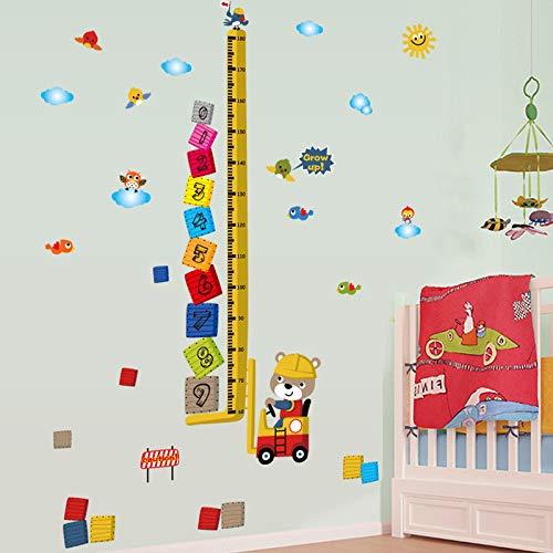 Sticker mural Dessin Animé Animal Dodge Grandir Mesure de Taille Arabe Nombre Nombre de Blocs Oiseaux Nuage Enfants Chambre Décoration Bricolage Stickers