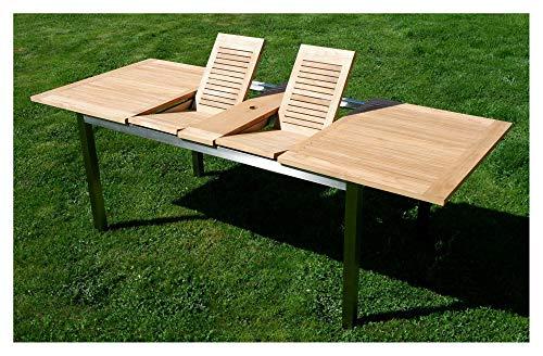 AS-S Edelstahl Teak Ausziehtisch 160/220x90 cm Gartentisch Holztisch Esstisch Tisch Massive Ausführung A-Grade Teakholz Kuba Modell: Kuba