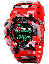 Addic Multicolor Dial Army Red Strap Digital sports Watch For Men's & Boys.