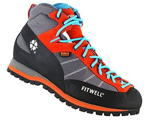 Fitwell Big Wall Light EV Wasserdichte Wanderschuhe/Trekkingschuhe für Damen und Herren Made IN Italy (UK 8 - EU 42, Grey Orange)
