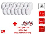 15er Set Flamingo optischer Rauchmelder mit Magnethalter, 85dB, Batteriewarnung, EN14604, FA23Set-15