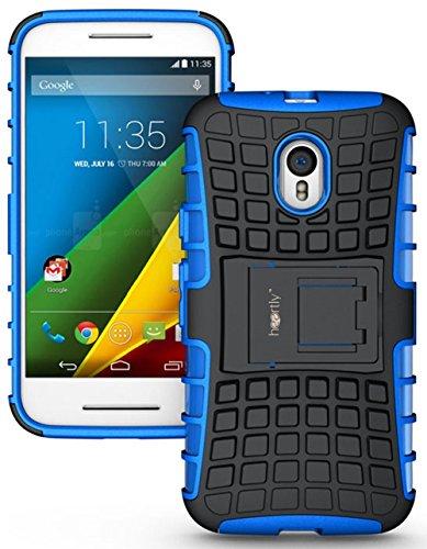 Heartly Flip Kick Stand Spider Hard Dual Rugged Armor Back Case For Motorola Moto G3 / Moto G 3rd Generation / Moto G Turbo - Power Blue