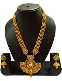 Sadnya Traditional Necklace Set With Jhumka Earring For Bridal Jewellery Antique Finish Necklace Set - DLNK50
