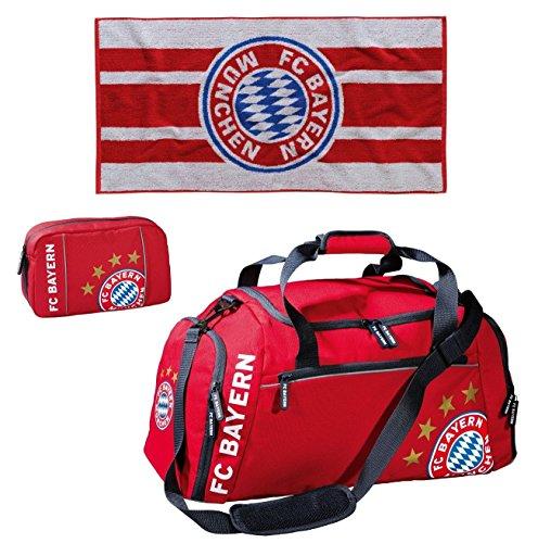 Sport-Set FC Bayern München Sporttasche mit Kulturbeutel und Duschtuch 70 x 140 cm 18823