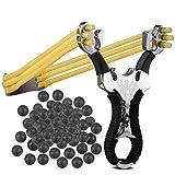Sports Funshop Set Profi Steinschleuder aus Stahl und mit Griff und Gummiband + 200 Schlammkugeln Munition