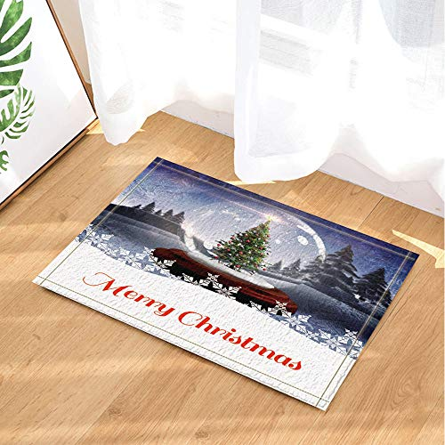 GAOFENFFR grüne Wald und weiße kristallkugel unter blauem Himmel Weihnachtsbaum rote Weihnachtskugel braunes holzbrett wasserdicht rutschfest Keine chemikalien fußmatten