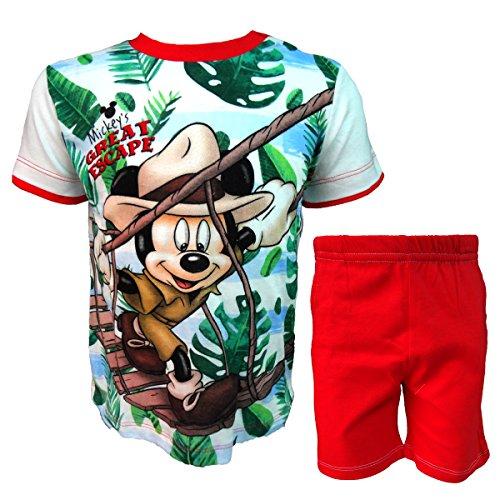 Disney completo neonato mezza manica pantaloncino mickey nuova collezione art. wd101314 (rosso, 36 mesi)