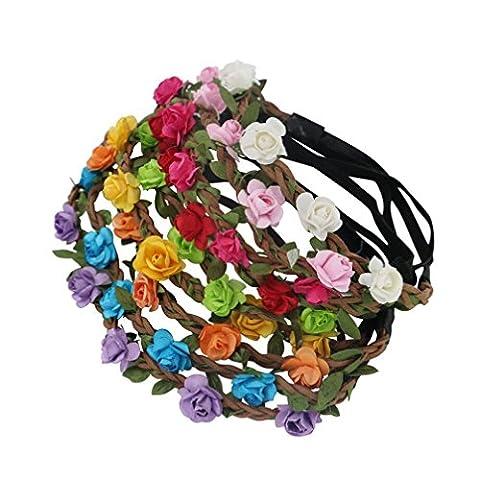AWAYTR 9 Pièces Couronne de Fleur pour Femme Fille Enfant Mariage Fete Anniversaire (Style C-couleur mixte(9Pcs))