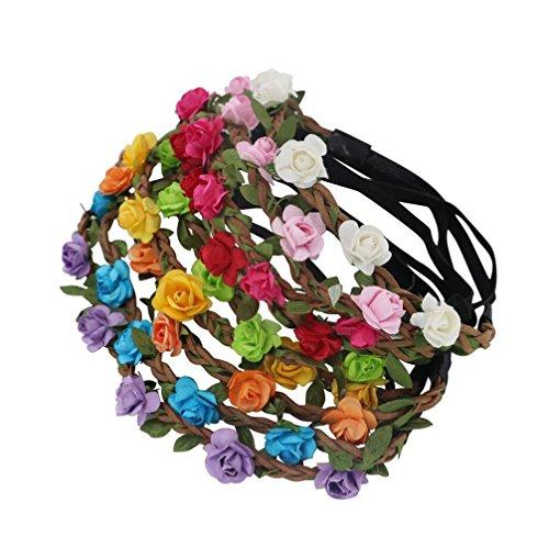 Damen Blumen Haarband Popart Rosen Knoten Gummizug Stirnband Headband Retro