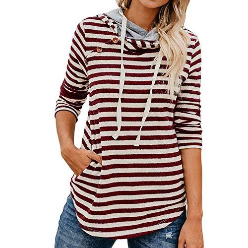 Xmiral Damen Kapuzenpullover Gestreifte Knopf Sweatshirt Baumwolle Langarm Sweatshirts Tops (M,Rot) Ohio Heavyweight Sweatshirt