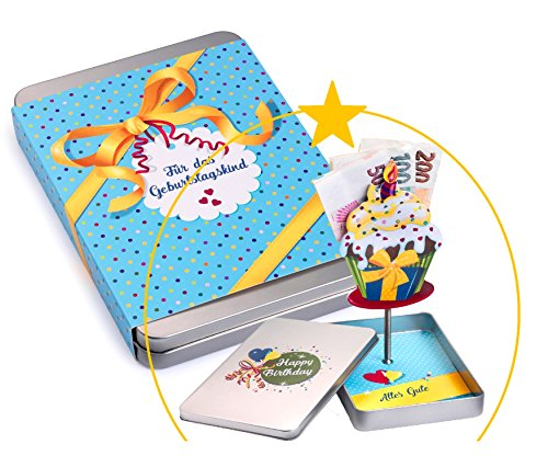 Geldgeschenke-Verpackung GEBURTSTAG; der Cupcake richtet sich beim Öffnen mit Ihrem Geschenk auf; Geschenk für Mann und Frau Gutscheine verpacken