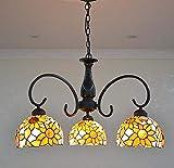 Lampadario in stile Tiffany, Lampade a sospensione a 3 teste in vetro colorato, Soggiorno Camera da letto Sala da pranzo Decorazione a forma di fiore GAOLIQIN