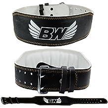 Cinturón de piel para levantamiento de peso, negro, extra-large