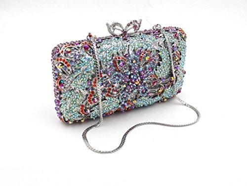Damen Abendtasche Diamant-Inlay Diamant-Mappe Hand Bankett Tasche Kristall bohren voll color 2