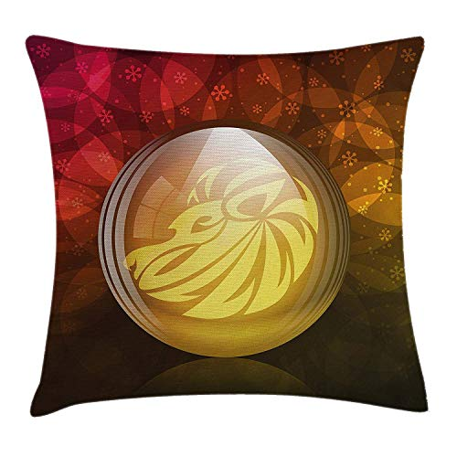 Astrology Throw Pillow Cushion Cover, Translucent Snow Globe with Zodiac Sign Leo on Floral Background Print, Decorative Square Accent Pillow Case, 18 X 18 inches, Red Yellow Dark Green Translucent Pink Case Cover