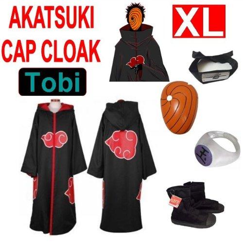Hot!Naruto Cosplay Set für Tobi - Akatsuki Mantel (XL) + Narudo Tobi Maske (gelb) + Tobi (Uchiha Madara) ring + Tobi Uchiha Itachi Stirnband + Naruto Akatsuki (Tobi Akatsuki Kostüm)