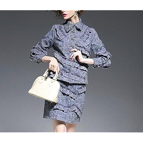 BIU Donne bavero singolo giacca di tweed petto + cuciture nappa pacchetto sottile del vestito pannello esterno dell'anca , gray , m