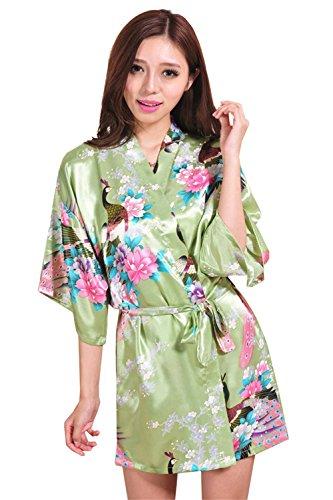 Pigiama corto Kimino Robe Peacock Stampato Donna Accappatoio Pigiama Loungewear Spa Robe Pigiama Verde