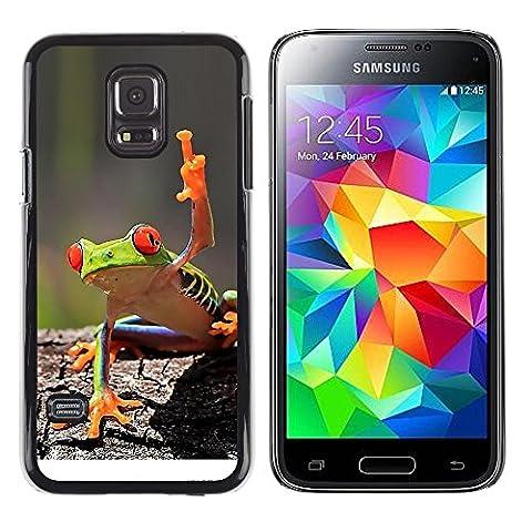 GooooStore/ Housse Etui Cas Coque - You Cool Frog Green Jungle Creature - Samsung Galaxy S5 Mini, SM-G800, NOT S5 REGULAR!