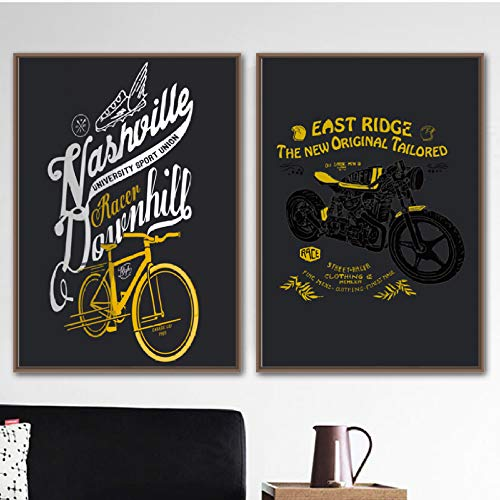 XWArtpic Motorrad Bike Logo Zitat Vintage Poster Wandkunst Leinwand Malerei Nordic Poster Und Drucke Wandbilder Für Wohnzimmer Decor D 30 * 40 cm