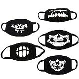Xinxu Mundmaske Gesicht Maske Schwarz Mund Abdeckung Leuchtende Schädel Antistaub Baumwollmund Masken für Herren Damen Halloween - 5Pcs