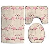 Badteppich, 3-teiliges Badezimmer Teppich Set Pink Flamingo Nonslip Flanell Dusche Matte Schimmelfest U-förmigen WC-Deckelbezug Teppiche für Männer Frauen Kinder, Badezimmer Teppiche, Badezimmer Zubehör